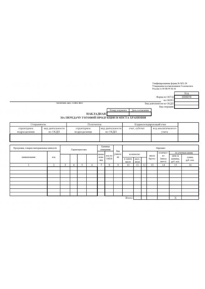 НАКЛАДНАЯ  НА ПЕРЕДАЧУ ГОТОВОЙ ПРОДУКЦИИ В МЕСТА ХРАНЕНИЯ (Унифицированная форма № МХ-18)