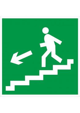 E14 Направление к эвакуационному выходу по лестнице вниз (левосторонний)